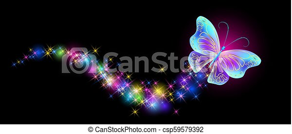 Flying butterfly with sparkle and blazing trail - csp59579392