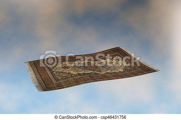 flying carpet on sunset sky - csp46431756