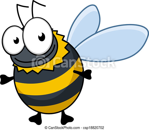 Flying cartoon bumble bee or hornet - csp18820702