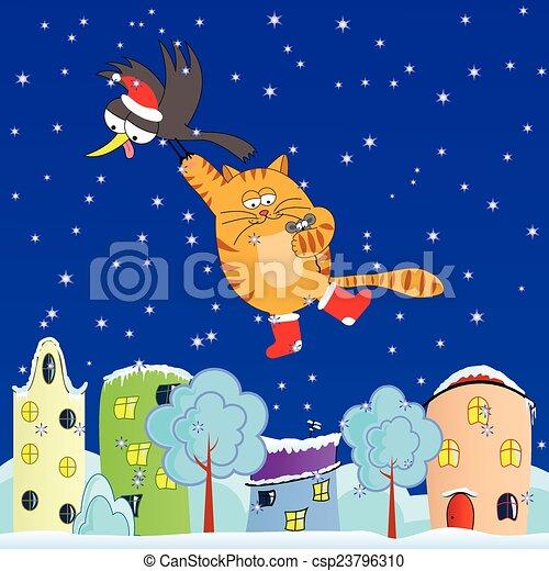 Flying cat - csp23796310
