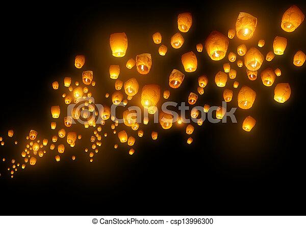 Flying Chinese Lanterns - csp13996300