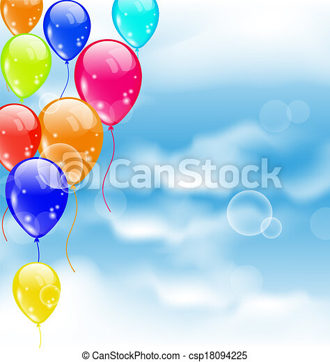 Flying colourful balloons in blue sky - csp18094225