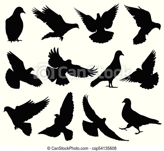 Flying dove vector silhouettes isolated  Pigeons set love and peace symbols