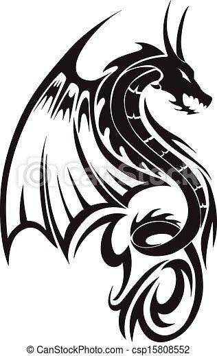 Flying dragon tattoo, vintage engraving. - csp15808552