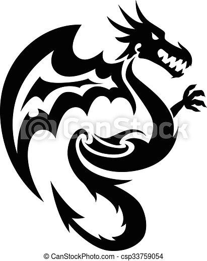 Flying dragon tattoo, vintage engraving. - csp33759054