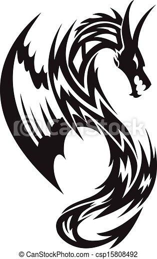 Flying dragon tattoo, vintage engraving. - csp15808492