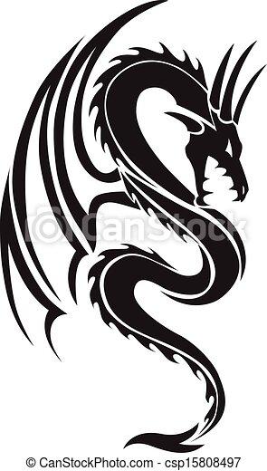 Flying dragon tattoo, vintage engraving. - csp15808497