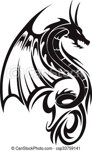Flying dragon tattoo, vintage engraving. - csp33759141