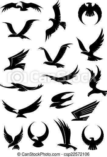 Flying Eagle Falcon And Hawk Vector Icons Flying Eagle Falcon And