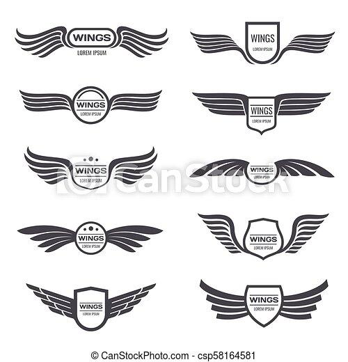flying eagle wings vector logos set vintage winged emblems and labels illustration eagle vintage wings emblem https www canstockphoto com flying eagle wings vector logos set 58164581 html