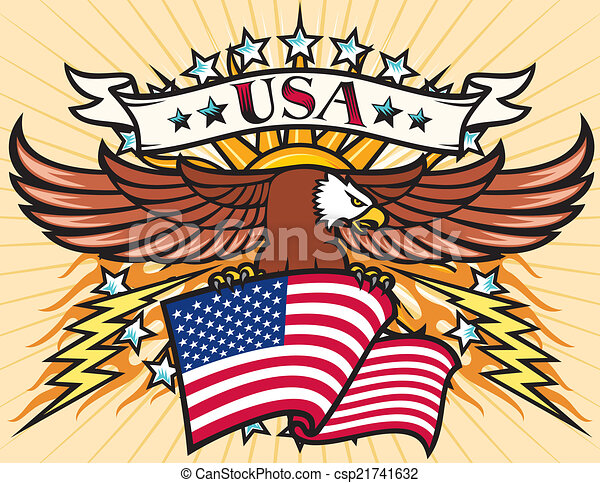 Flying eagle with USA flag - csp21741632