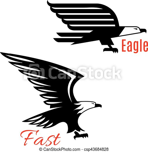 Flying eagles vector icons set