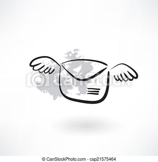 flying envelope grunge icon - csp21575464