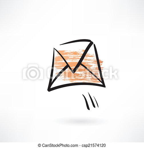 flying envelope grunge icon - csp21574120