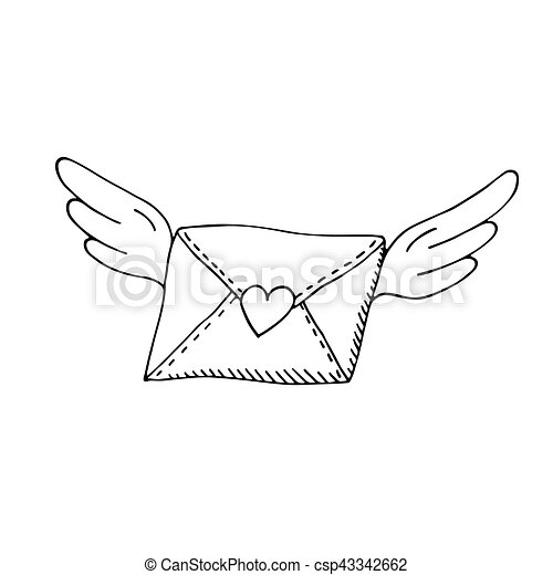 Flying envelope with wings and heart - csp43342662