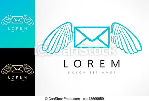 Flying envelope with wings logo - csp48599959