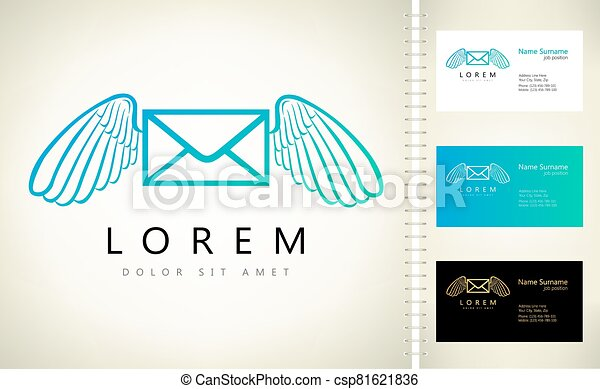 Flying envelope with wings logo vector - csp81621836