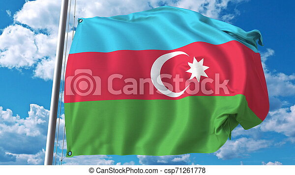 Flying flag of Azerbaijan on sky background. 3D rendering - csp71261778