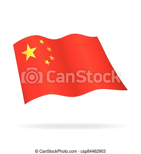 flying flag of China vector - csp84462903