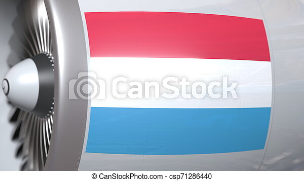 Flying flag of Luxembourg on airliner tourbine engine. Aviation related 3D rendering - csp71286440