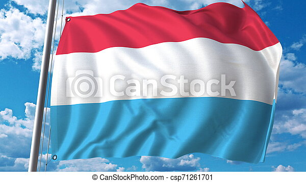 Flying flag of Luxembourg on sky background. 3D rendering - csp71261701