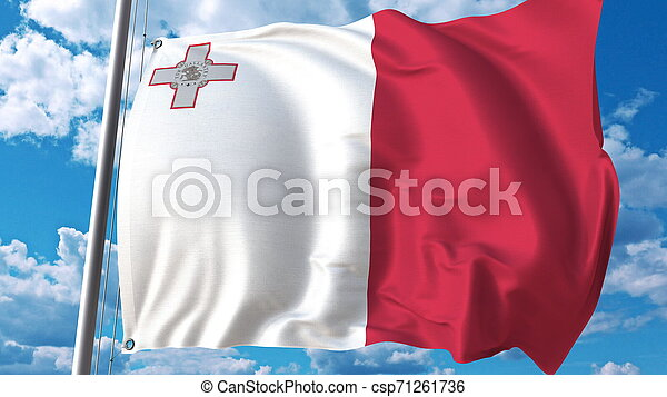 Flying flag of Malta on sky background. 3D rendering - csp71261736