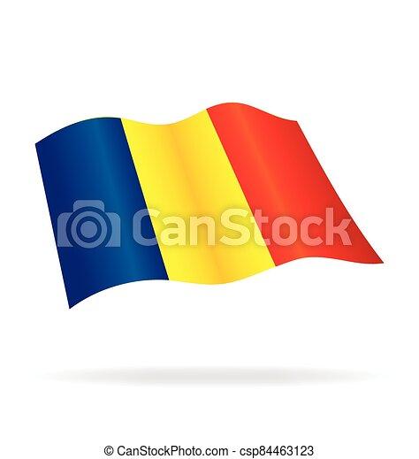 flying flag romania vector - csp84463123