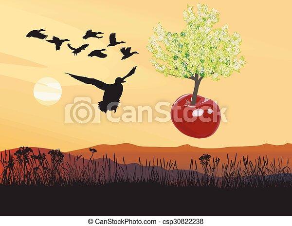 Flying flowering Cherry tree - csp30822238