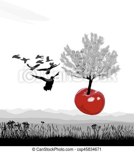 Flying flowering tree Cherry of cherries - csp45834671