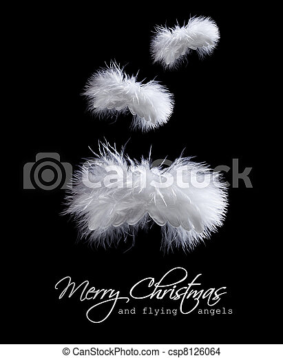 flying fluffy christmas angels csp8126064 - Black Christmas Angels