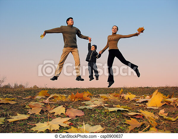 flying happy family - csp0900637