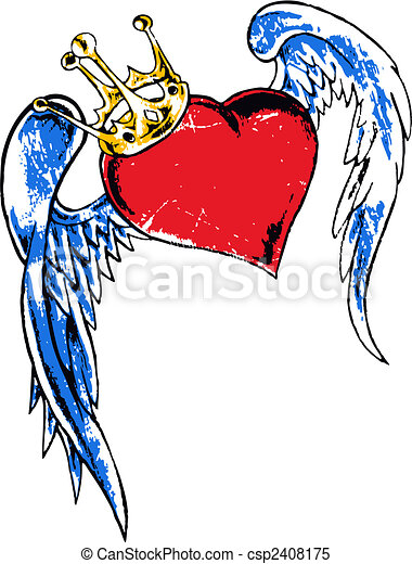 flying heart with crown illustration - csp2408175