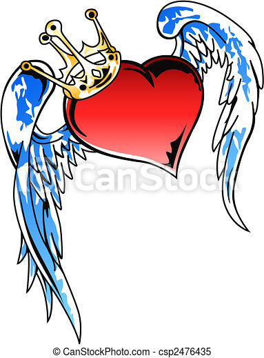 flying heart with crown illustration - csp2476435