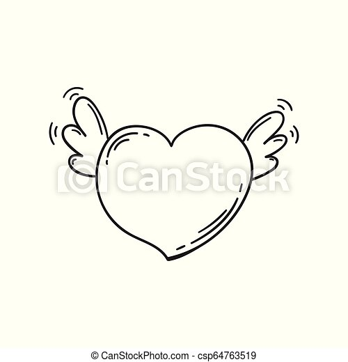 Flying heart with wings in doodle style. Template for Valentine day.  Coloring book