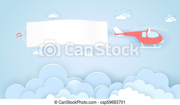 Flying helicopter with empty advertising banner vector concept in paper art  origami style  Template for a text web banners, paper cut craft design
