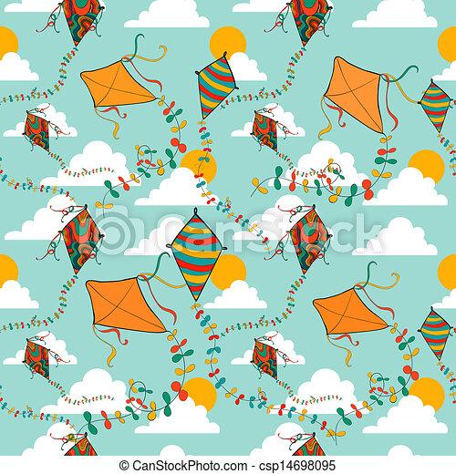 Flying Kites Seamless Pattern Vibrant Colors Spring Flying Kite