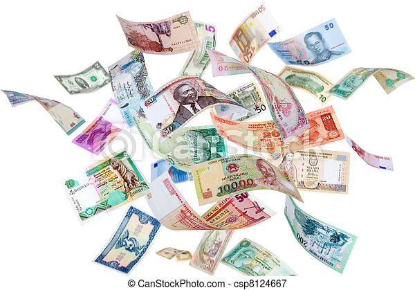 Flying money from around the world - csp8124667