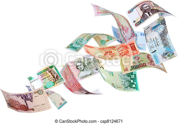 Flying money from around the world - csp8124671