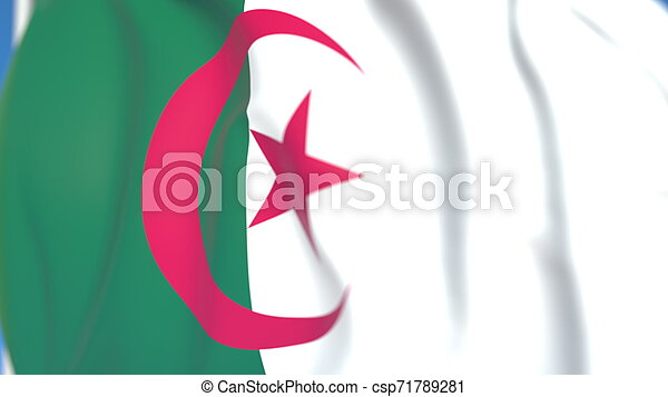 Flying national flag of Algeria close-up, 3D rendering - csp71789281