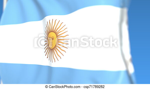 Flying national flag of Argentina close-up, 3D rendering - csp71789282