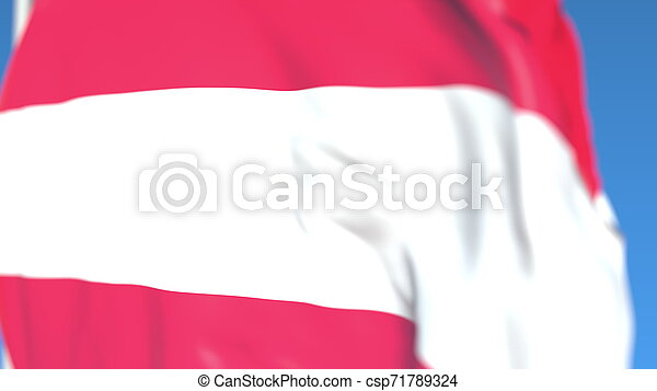 Flying national flag of Austria close-up, 3D rendering - csp71789324