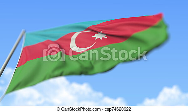 Flying national flag of Azerbaijan, low angle view. 3D rendering - csp74620622