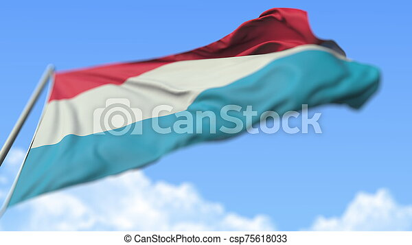 Flying national flag of Luxembourg, low angle view. 3D rendering - csp75618033