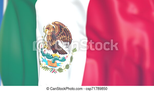 Flying national flag of Mexico close-up, 3D rendering - csp71789850