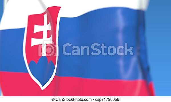 Flying national flag of Slovakia close-up, 3D rendering - csp71790056
