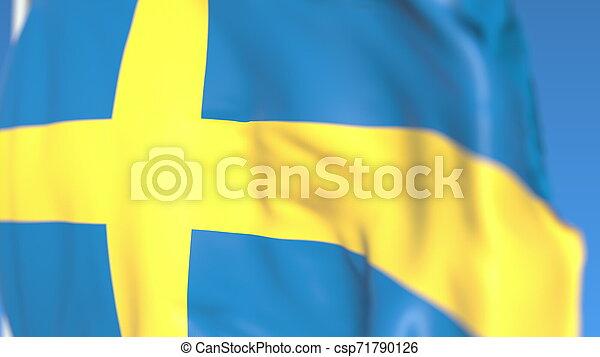 Flying national flag of Sweden close-up, 3D rendering - csp71790126