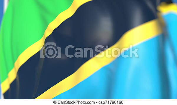 Flying national flag of Tanzania close-up, 3D rendering - csp71790160