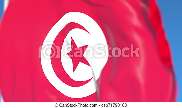 Flying national flag of Tunisia close-up, 3D rendering - csp71790163