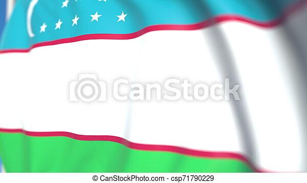 Flying national flag of Uzbekistan close-up, 3D rendering - csp71790229