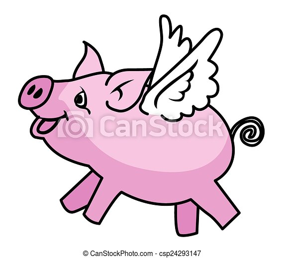 flying pig rh canstockphoto com Dancing Pig Clip Art Animated Flying Pig